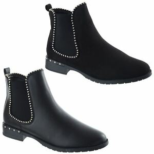 WOMANS CASUAL WORK PARTYWEAR FLAT LOW HEEL CHELSEA ANKLE BOOTS LADIES SHOES SZ