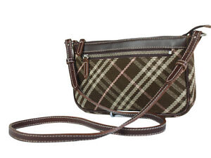 d1f1fd9f8774 Image is loading Auth-BURBERRY-LONDON-BLUE-LABEL-Canvas-Leather-Browns-