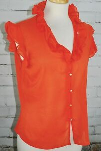 ST-JOHN-COUTURE-Silk-Sleeveless-Sheer-Ruffle-Top-Women-039-s-Size-8-Orange-As-Is