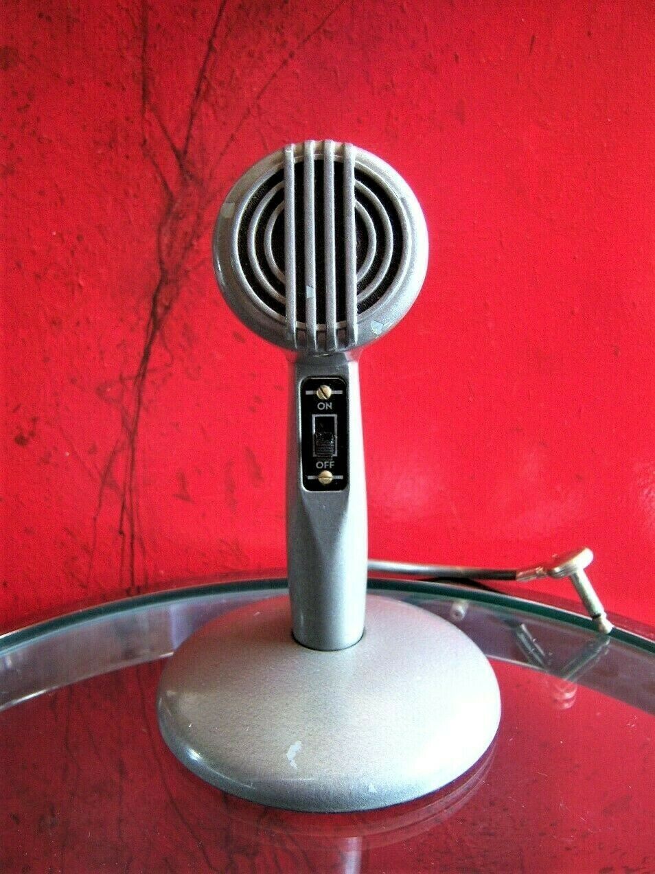 Vintage 1950's Astatic model 200 Crystal bullet microphone old w original stand
