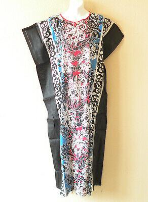 S 2X L 1X XL Purple Batik Floral Dolman Batwing Sheen Caftan Kaftan Tunic Hippy Maxi Dress M