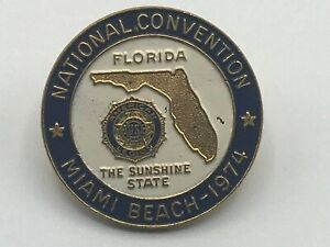 1974-Vintage-Miami-Beach-Florida-US-American-Legion-Natl-Convention-Lapel-Pin-B4