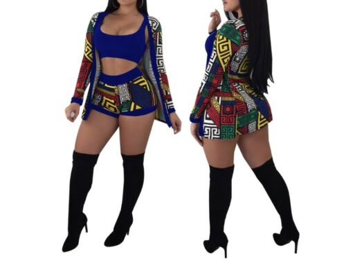 Long Sleeve New  Women Three Piece Set Tracksuit T Shirt Tank Top+Shorts Pants