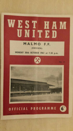 1961 Friendly Match WEST HAM UNITED v MALMO F.F, 30 October 1961