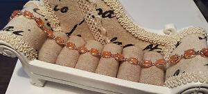"Stunning Peach Moonstone Tennis Bracelet in 14k Gold over Sterling silver 7.5"""
