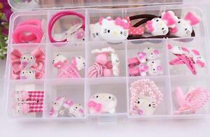 675b2c521 Hello Kitty Girls Pink Hair Band Clip Hair Accessories Set Brooch Ring ...