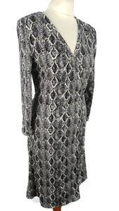 Mango-Size-M-12-14-Black-White-Snakeskin-Long-Sleeve-Wrap-Below-Knee-Midi-Dress