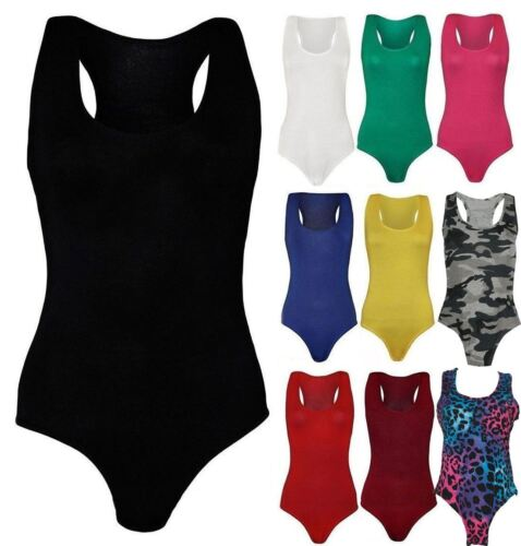 Womens Sleeveless Muscle Racer Back Bodysuit Ladies Leotard Dance Party Wear Top