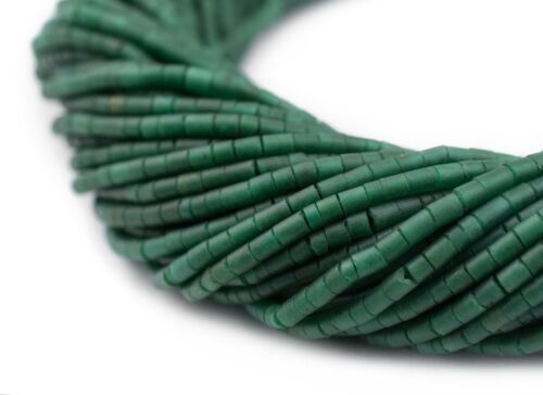 Tiny Emerald Green Cylinder Beads 2x1.5mm Afghanistan Stone 18 Inch Strand