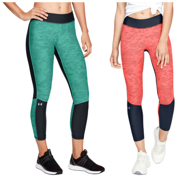 2019 Under Armour Ladies Heatgear Armour Jacquard Ankle Crop Leggings Ua Sports Facile Et Simple à Manipuler