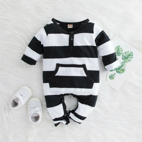Infant Newborn Baby Boys Girls Striped Pocket Romper Jumpsuit Casual Clothes