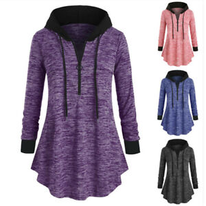 Women-Blouse-Space-Hooded-T-Casual-Tops-Sleeve-Tunic-dyeing-Shirt-Plus-Size-Long