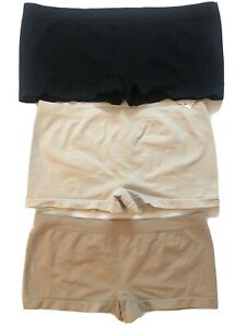 Bobbie Brooks Ladies Seamless Boy Shorts ~ Black, Nude
