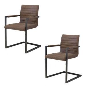 2 X Esszimmerstuhle Buffalo Braun Freischwinger Schwingstuhl Stuhl