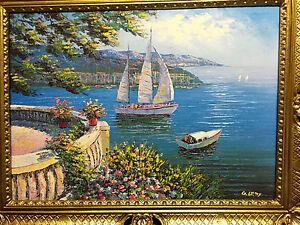 Gemaelde-Antik-Haus-am-See-Blume-Bild-Ohne-Rahmen-Gold-50X70-Italien-Segelboot-11