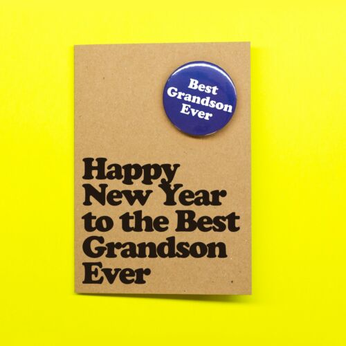 Funny Happy New Year to the Best Grandson Ever Hand Crafted Badge Card vari...