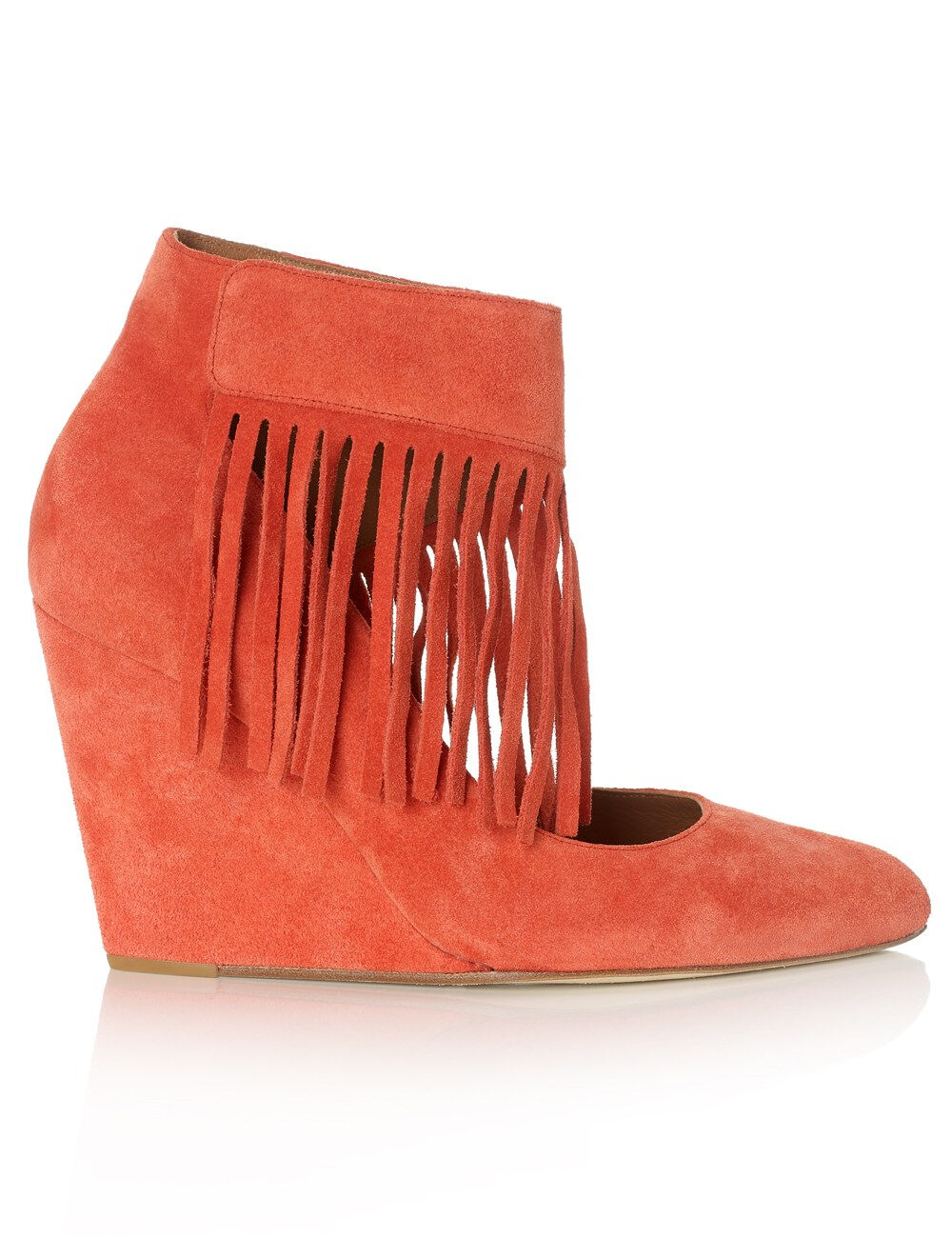 EUGENE RICONNEAUS Red Coral Suede Annasea wedges FR39 UK5 US7.5 Rare Piece