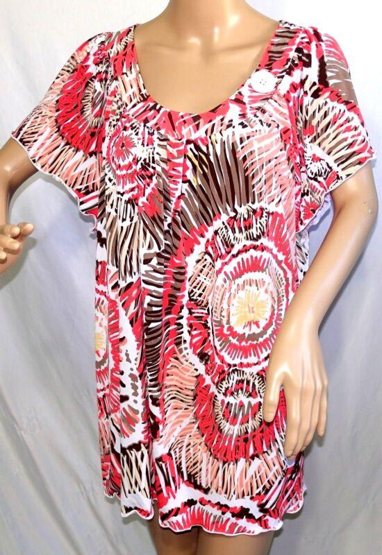 Southern Lady Damen Übergröße 2x Koralle Hellbraun Strick Top Bluse Hemd Farbe