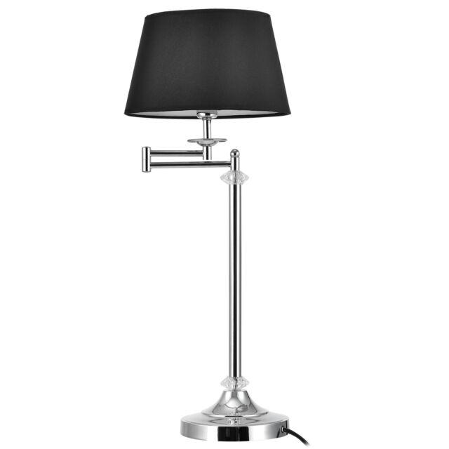 Tischlampe Stoff+Kristall Höhe 60cm Ø24cm Tischleuchte Schreibtischlampe