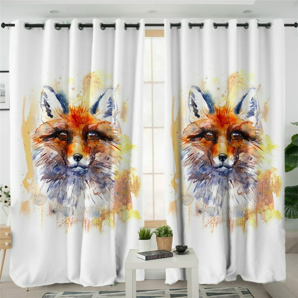Watercolour Art Fox Animal Orange Window Living Room Bedroom Curtains Drape Kids