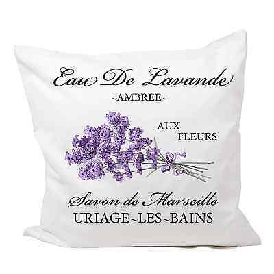 Kissenhülle bedruckt 40 x 40 Paris Vintage Shabby Lavendel Schrift french No 5