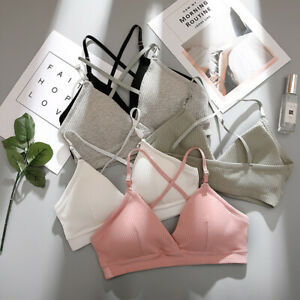 Women-039-s-Cotton-Strappy-Bralette-Push-up-Padded-Bra-Crop-Tops-Underwear-Lingerie