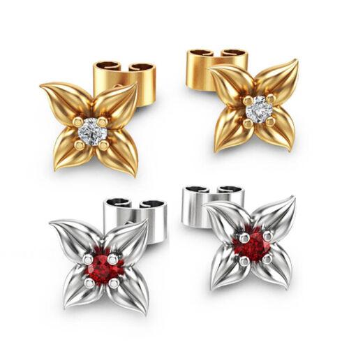 Genuino 925 Plata Oro Pétalos de Rosa Oro Cristal Aretes par UK
