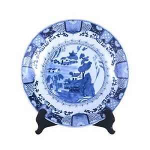 Beautiful-Blue-and-White-Porcelain-Chinese-Blue-Willow-Plate-16-034-Diameter