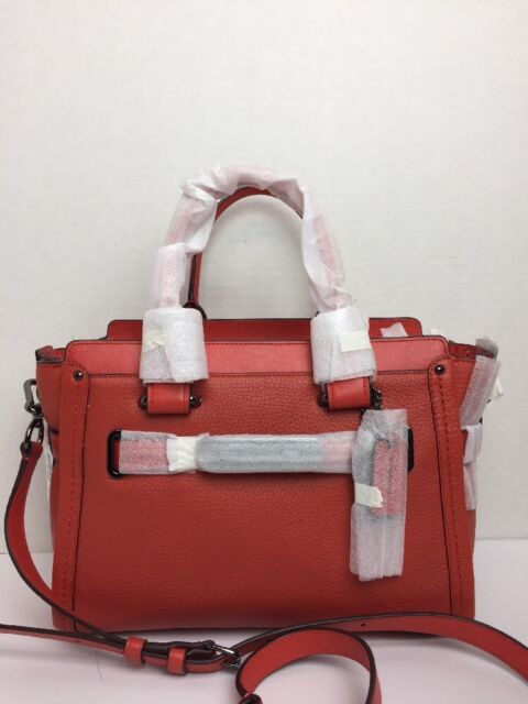 4519fdb270c1 Coach 34816 Swagger 27 Pebbled Leather Satchel Deep Coral for sale ...
