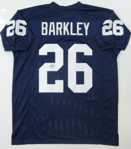 Saquon Barkley Autographed Navy Blue College Style Jersey JSA W Auth *2
