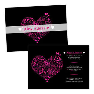 Personalised-day-evening-wedding-invitations-FLORAL-SWIRL-HEART-PINK-BLACK-FREE