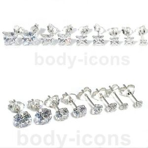 925-Sterling-Silver-Cubic-Zirconia-Clear-CZ-Round-or-Square-Earrings-Studs-3-7mm