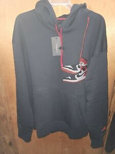 Large Nike Jordan 1 Black Toe Jumpman Stitch Hoodie Mens 3XL CT3457-010
