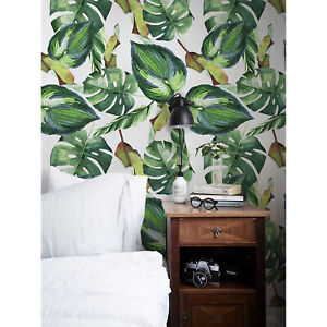 Removable-wallpaper-Palm-Leaves-Self-adhesive-Floral-Peel-and-stick-Home-Decor
