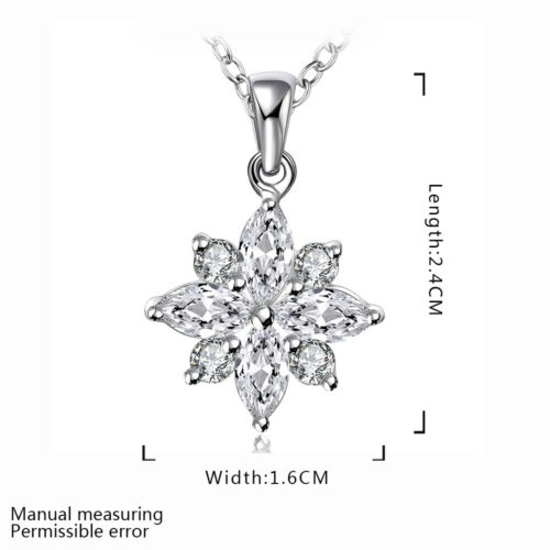 Bijoux Montres Argent Sterling 925 Zircon flocon de neige collier pendentif GN581+BOX