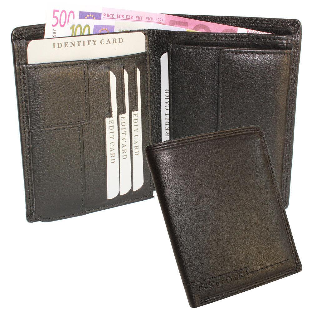 Herren Leder Geldbörse Geldbeutel Portemonnaie Hochformat Kartenfächer schwarz