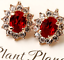 Antique Style 18K Rose Gold Plated Red Ruby Crystal Clip On Earrings Vintage