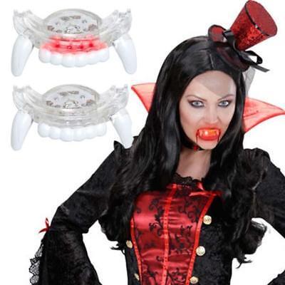 Amabile Vampiro Led Zanne Si Illumina Costume Da Halloween Adulto Taglia Unica Bianco
