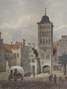 DAS-BURGTOR-IN-LUBECK-Repro-1873-von-V-J-Loser-sen-des-antiken-Kupferstichs