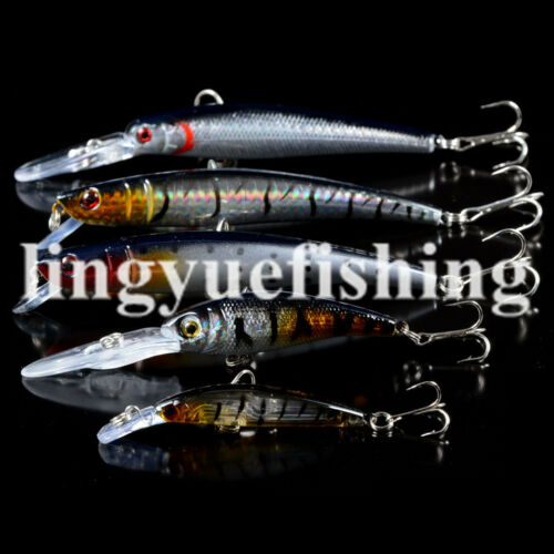 New Mixed 5 Model Minnow Fishing Lure Bass Crankbait Wobblers Fishing Tackle