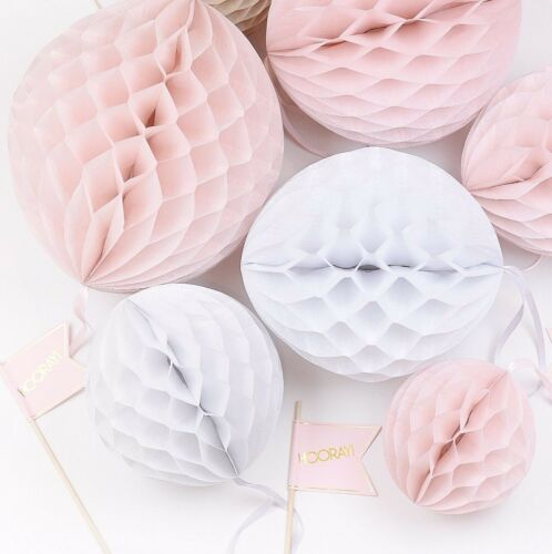 Dusty blush Paper Honeycomb party set paper decorations paper balls-lantern
