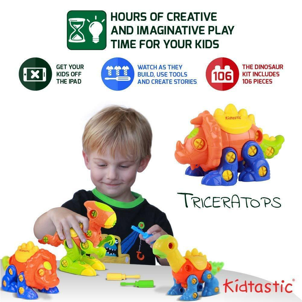 NEW Kids Dinosaur Building Construction Toy Set - Screwdriver Triceratops T-Rex