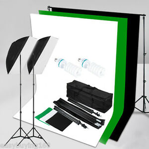 Soporte Fotografía Estudio Set Iluminación Kit Telón fondo Blanco Verde y Negro