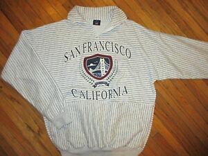 Vintage Années 80 90 San Francisco Californie Pull Doré Gate Pont à Rayures Sm / PréVenir Et GuéRir Les Maladies
