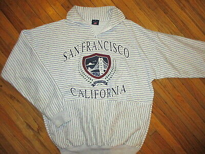 Vtg 80er Jahre 90er San Francisco California Sweatshirt Gelbgolden Tor Brücke