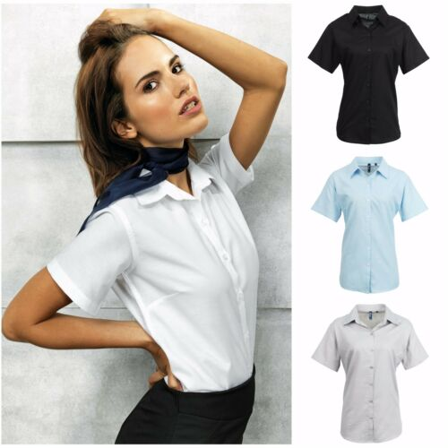 Ladies Womens Fitted Short Sleeve Blouse Shirt Business Work Top Size 8-26