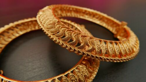 Indian openable Bangles With Matte Gold Plating Antique  design