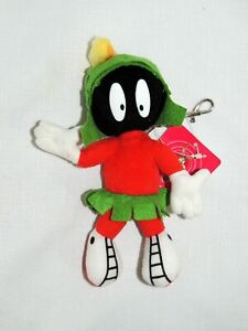 """NEW WITH TAG MARVIN THE MARTIAN  LOONEY TUNES PLUSH CLIP 7 /"""" WITH GUN"""