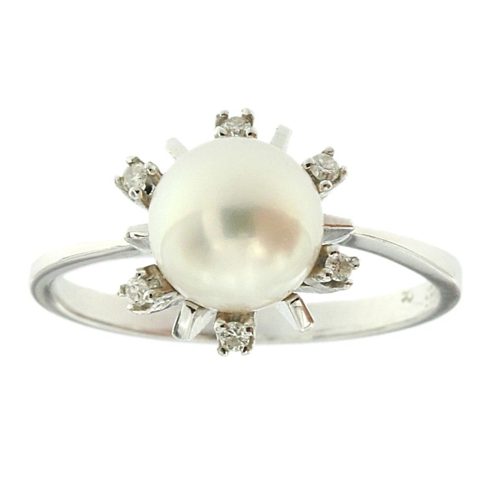 7.50mm Round Genuine Natural Pearl & Diamond Halo Ring Solid 14k White gold