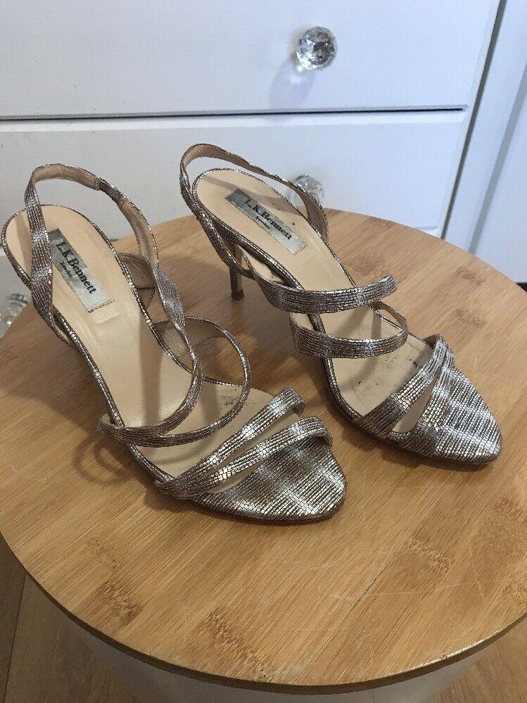 L K Bennett Addie Back Gold Lizard Print Sling Back Addie Strappy Sandals Size EU 37 UK 4 c34546